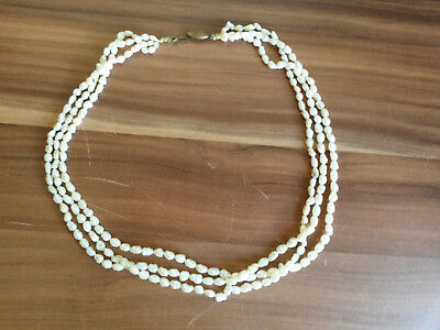 Schöne alte Perlenkette, Collier 3-reihig, Flußperlen, Messingverschluß