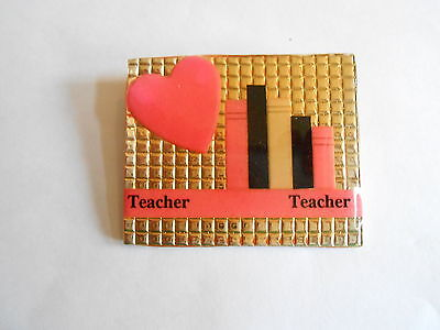 Vintage Teacher Teacher Heart & Books Foil Background Look Plastic Pin Pinback