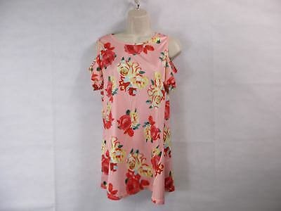 For G   Pl Womens M Pink Floral Print Cut Out Shoulder Short Sleeve Tops Bl New