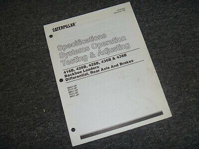 Cat Caterpillar 426b Backhoe Loader Axle Brake System Test Adjust Service Manual
