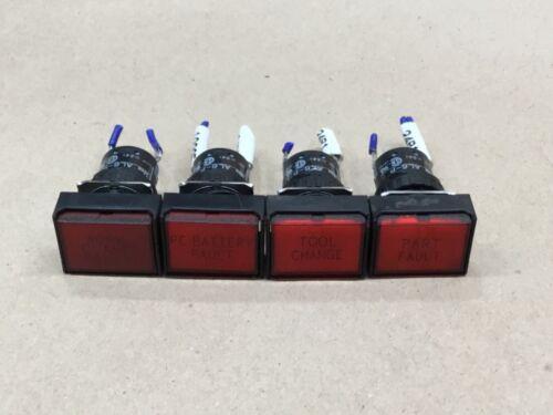 LOT OF 4 IDEC PILOT INDICATOR LIGHT LED 24VDC RED SQUARE AL6-P #56E12*AD