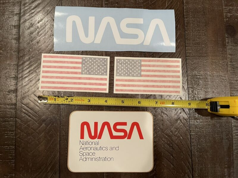 Vintage NASA decals zaps and flags set of 4