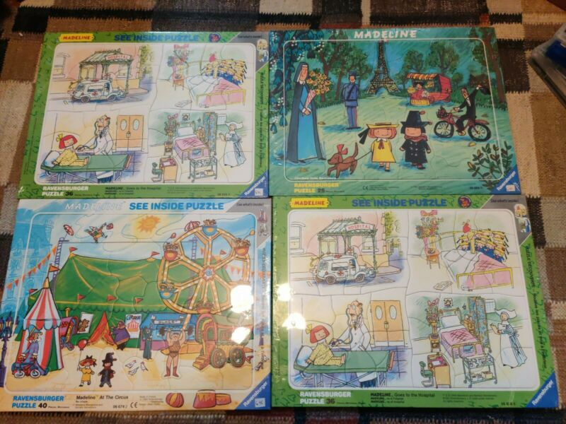 Vintage Sealed Ravensburger Madeline France 4 Puzzles 25 Pieces  11.5x14.5""