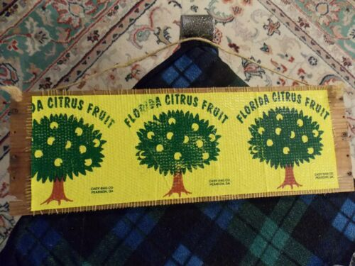 Vintage FLORIDA CITRUS FRUIT Wood Crate Sign Wall Hanging Unique VG !