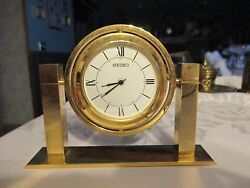 SEIKO DESK CLOCK~:Gold tone/brass/brass plate - rotating sphere - HYM