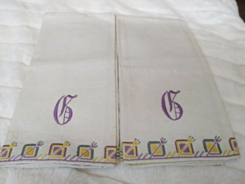 """Set of 2 Purple, Yellow & Green Cross Stitched Heavy Linen Hand Towels 24""""x17"""""""