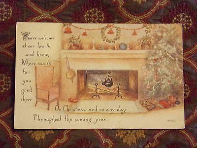 Christmas Tree Poem (Vintage Postcard Christmas Poem, Christmas Tree And Fireplace)