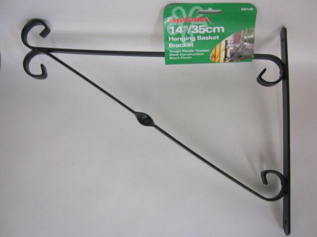 "New Supa Garden Hanging Basket Bracket 14"" 35cm Black SB14B"