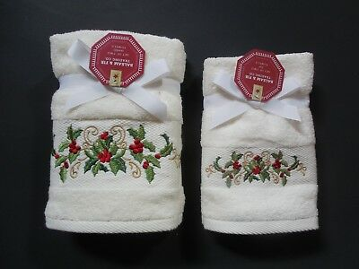 (Ivory Christmas Towel Gift Sets~Embroidered Holly~Hand or Fingertip~Balsam & Fir)