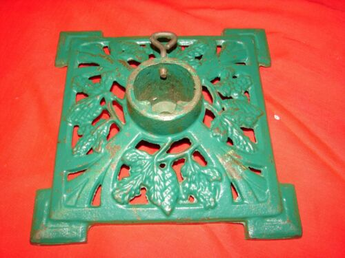 Antique Cast Iron Christmas Tree Stand Feather Tree Pine Cone Design L@@K #1