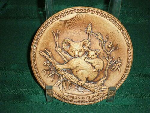 Vintage Australian Jolly Swagman Genuine Pottery/Stoneware 3D KOALAs WALL PLATE