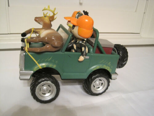 Cabelas Gemmy Musical Antimated Jeep with Bobble Heads Deer Hunters