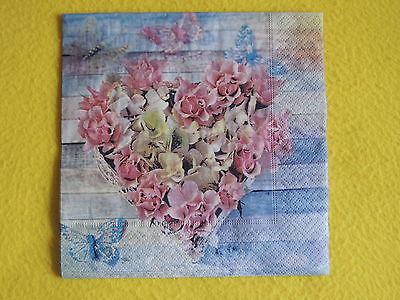 5 Servietten ROSES IN SHAPE Rosen HERZ Serviettentechnik 1/2 Schmetterlinge
