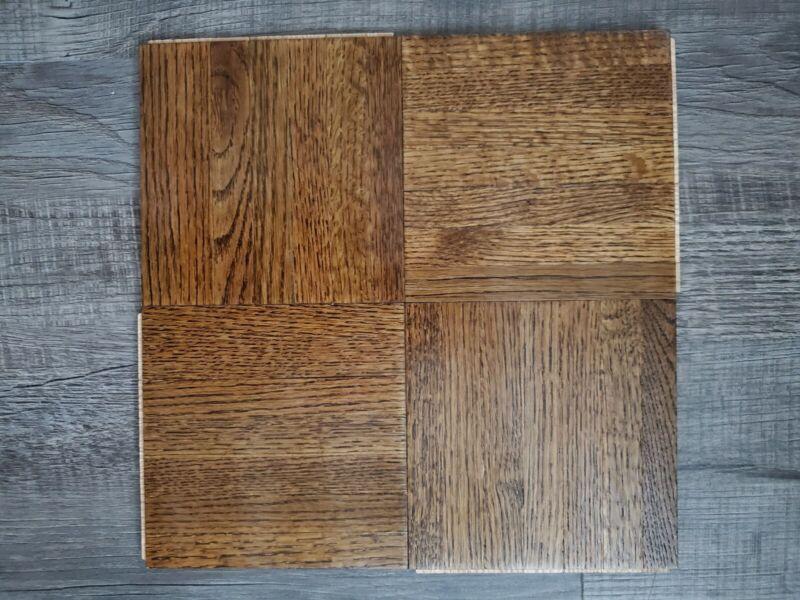 """Solid Oak Wood Parquet Flooring  12"""" x 12"""" 1 sq. ft per tile foam back. ONE TILE"""