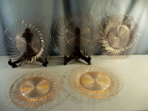 "Set of 5 Jeannette Pink Depression Glass SWIRL Dinner Plates 9 1/4"" Wide"