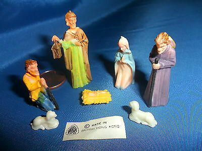 Vintage Plastic Miniature Nativity Set - 7 pcs