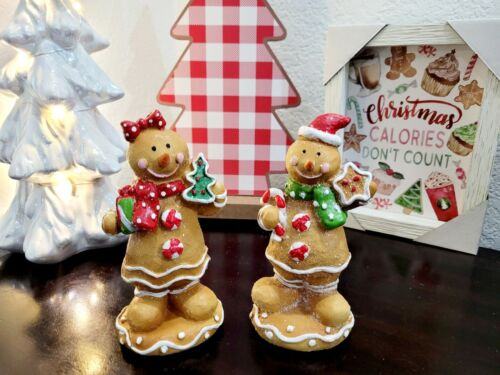 """CHRISTMAS Gingerbread Man Couple Peppermint Resin Figurines Tabletop Decor 6.5"""""""