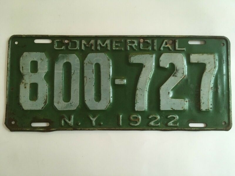 1922 New York Commercial Truck License Plate Pick Up Original Paint