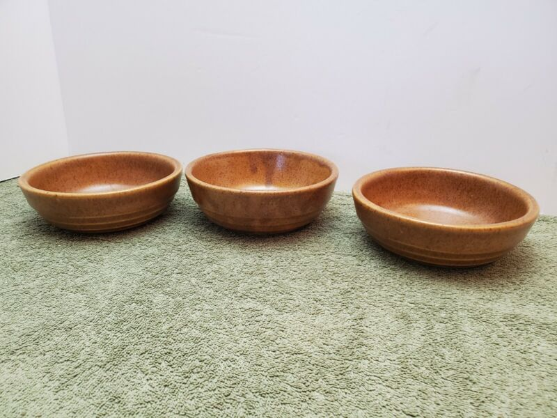 3 Vintage Monmouth Pottery Mojave Brown Speckled Bowls Maple Leaf USA