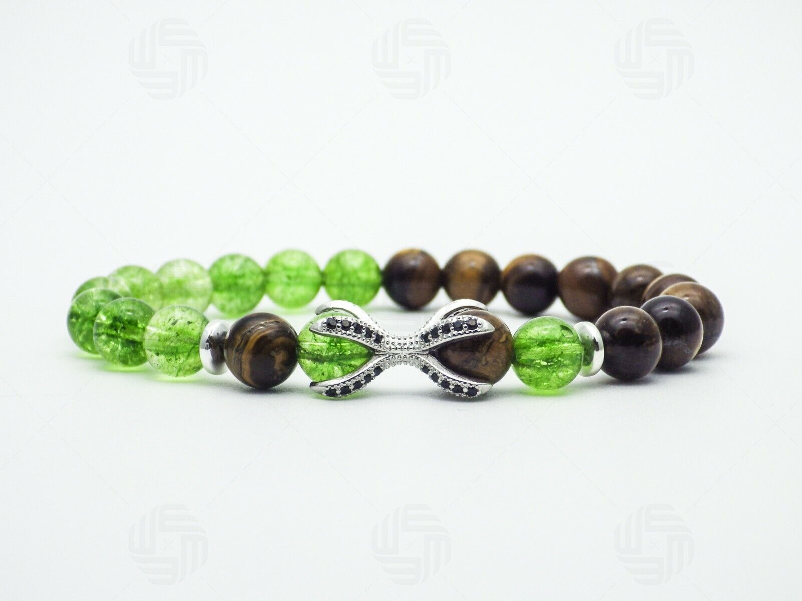 Natural green Peridot crystal gemstone white Gold-plated Chaming Bracelet