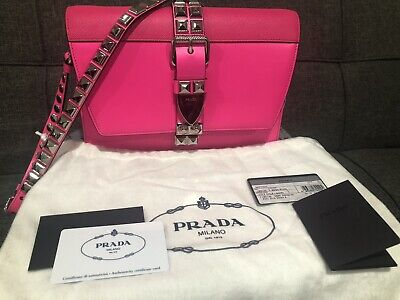 New & Authentic Hot Pink Prada Elektra Leather Crossbody Bag w/Studs MSRP $2350