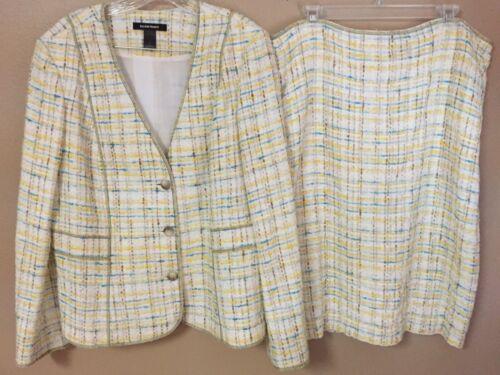 ELLEN TRACY Sz 16 White Yellow Aqua Brown Short Skirt Suit Lined Cotton Blend XL