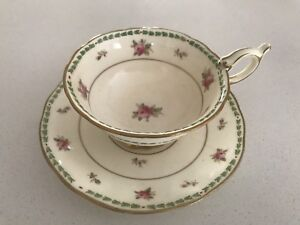 Coalport 1750 Hand painted tea cup and saucer .