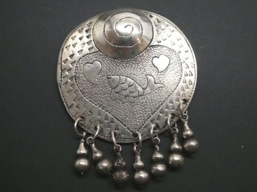 Vintage Koi Fish Silver Plated Hmong Miao Hill Tribe Handmade Engraved Pendant