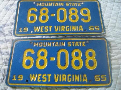 TWO VINTAGE West Virginia License Plates WV 1965  ANTIQUE # 68-088 & 68-089