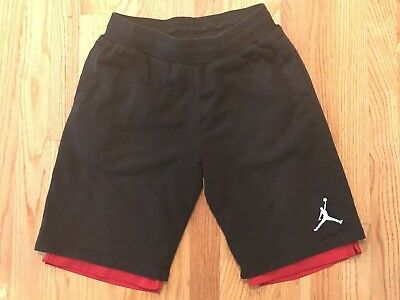 Boys's Air Jordan Reversible Basketball Shorts Black & Red, #23 on Back- Size L