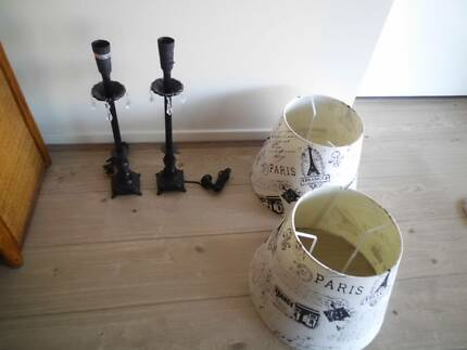 FRENCH/PARIS STYLE LAMP SHADES & STANDS PAIR