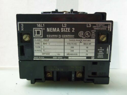 Nice Square D 8502 SD0-2 Magnetic Contactor Size 2 120 Coil Ser. A W/ Interlock
