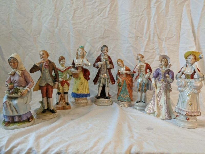 Victorian Bisque Porcelain Figurine L&M, HOMCO, Lefton, Orion Colonial LOT of 9!