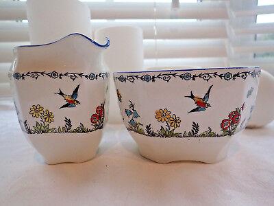 Collingwood Ornate Vintage Milk Jug and Sugar Bowl, Birds & Butterflies