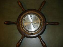 Vintage Nautical Captain's Ship Wheel Clock Rope Around Clock 21