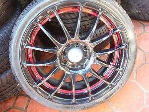 """Set Of 17"""" Rodney Jane Black Rims Multifit 4 Stud x 100/114.3 PCD Green Valley Liverpool Area Preview"""
