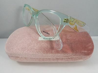 Miu Miu VMU 03N TIV-1O1 Transparent Green New Authentic Eyeglasses 51mm wCase