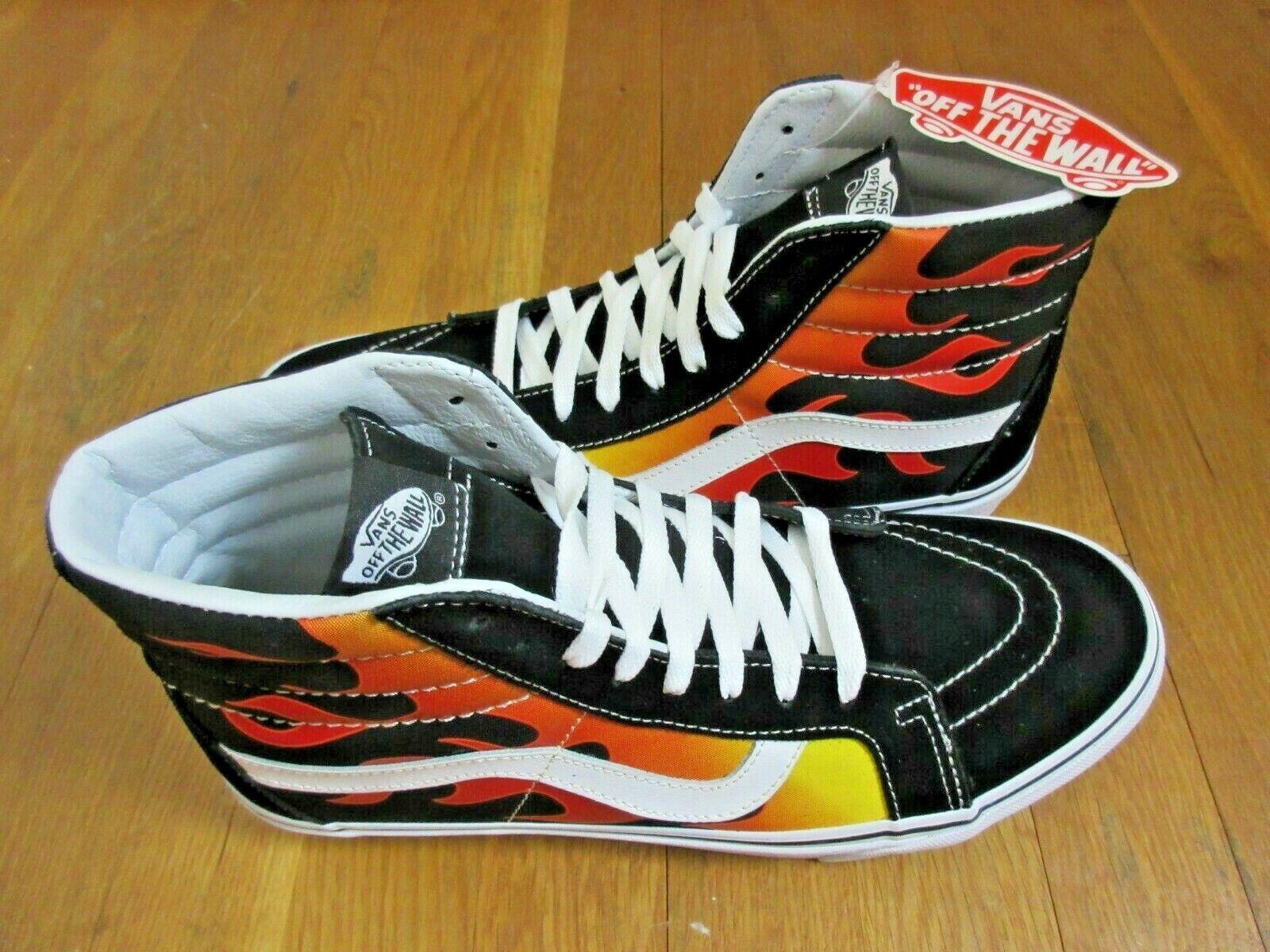 Vans Mens Sk8 Hi Reissue Flame Black Orange True White Skate shoes Size 11.5