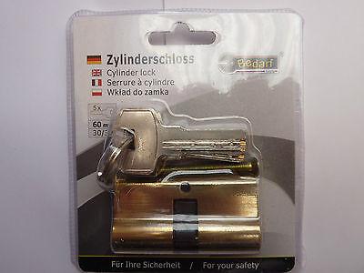 Profilzylinder, Schließzylinder,Türzylinder, Schloss 60mm NEU 30x30mm mit 5 Schl