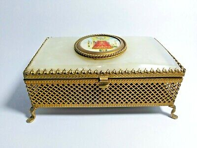 Vintage Jewelry Box Ring Duck Box Gold Black Duck Box Rare Old Wood Box with Lid from 1970 s