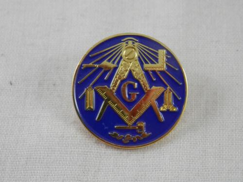Masonic Pin back Gold & Blue Enamel