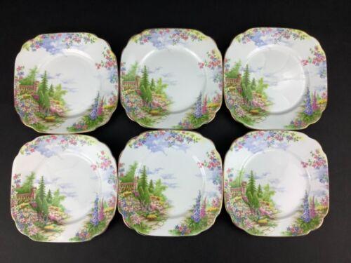 "Royal Albert Kentish Rockery Set of SIX (6) Square Bread Plates 6"""