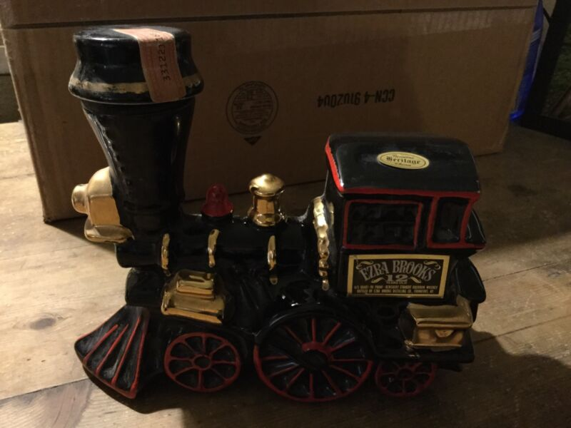 Vintage Ezra Brooks Train Decanter 12 Years Old Heritage China Black Red Gold