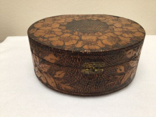 Antique Wooden Hat Box or Sewing Box, Floral Carved Wood