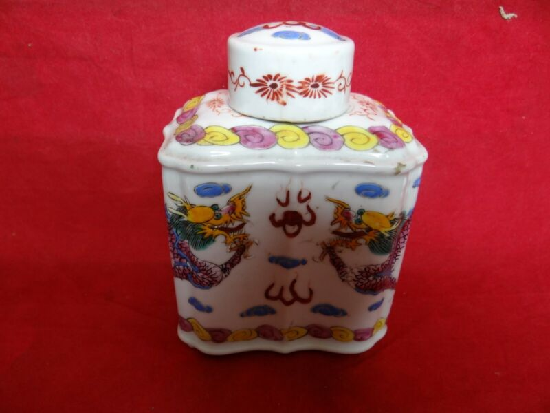 Fine Qing Or Early Republic Period Chinese Porcelain Tea Caddy Dragons Design