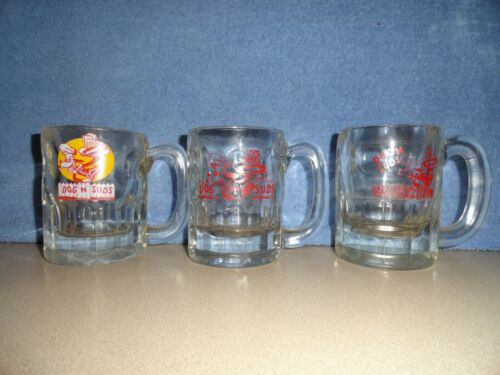 DOG N SUDS Root Beer mugs, set of 3  with different logos on each one