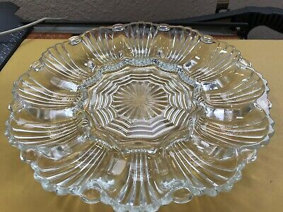 Antique Glass Deviled Egg Plate Clear Pressed Scallop Shape Holds 12 Eggs L(@@)K ()