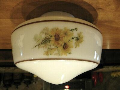 Vintage Milk Glass YELLOW DAISIES Design Ceiling Fan Light Lamp Shade Globe