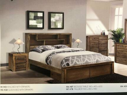 Solid Acacia Hardwood Storage Bed With/Without Drawers - NEW