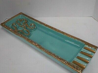 MCM Turquoise Retro Art Deco Ashtray Rectangle BIG